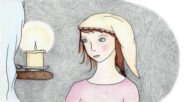 illustration girl nightcap
